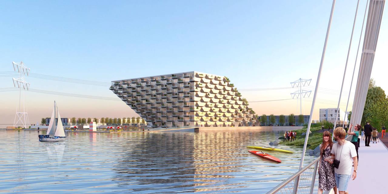 Sluishuis Puente en Amsterdam por BIG y BARCODE Architects : Render © BIG