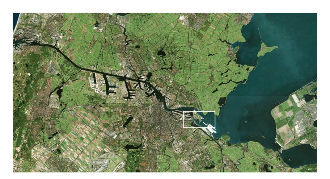 Sluishuis Localización Satelital en Amsterdam por BIG y BARCODE Architects : Render © BIG
