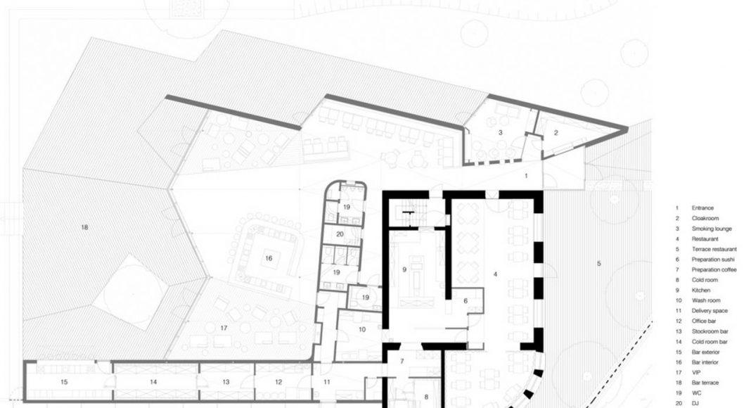 Restaurante BOOS Beach Club Planta en Bridel, Luxemburgo by Metaform Architects : Drawing © Metaform Architects