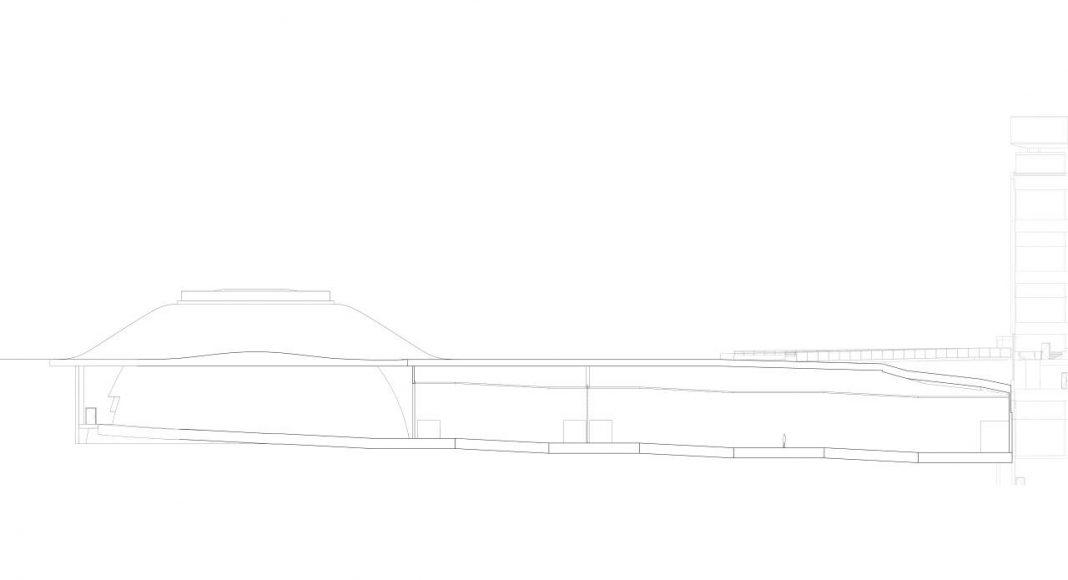ARoS Next Level Section A - A' Schmidt Hammer Lassen Architects : Drawing © Schmidt Hammer Lassen Architects
