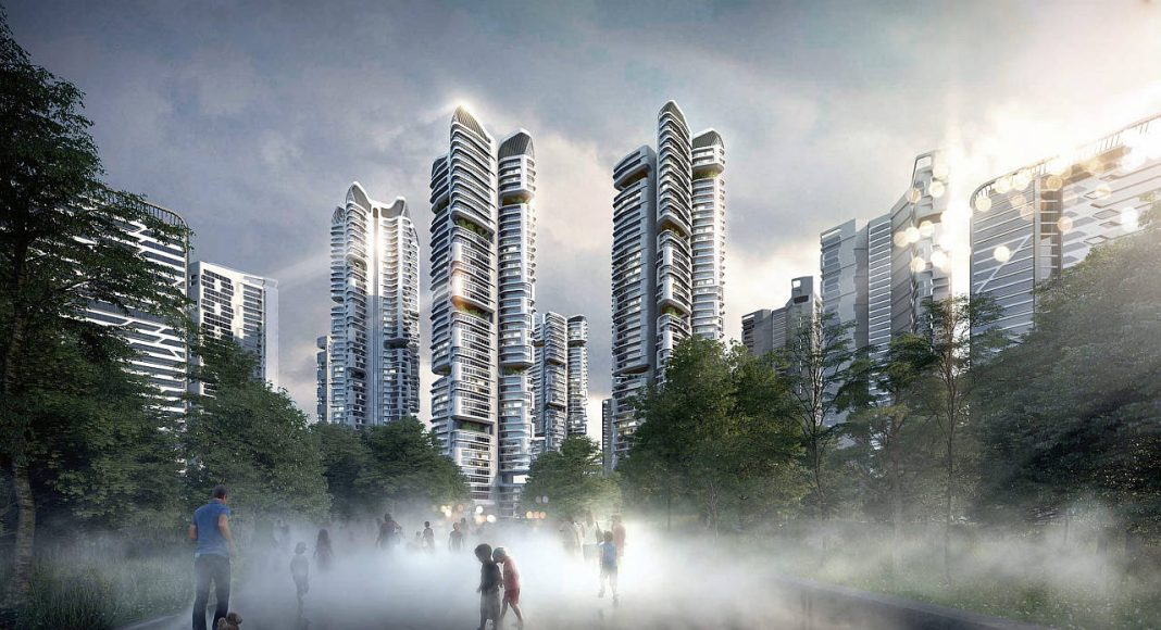 The mist lake and dragon towers are located at the centre of the development : Render © UNStudio and © Heerim
