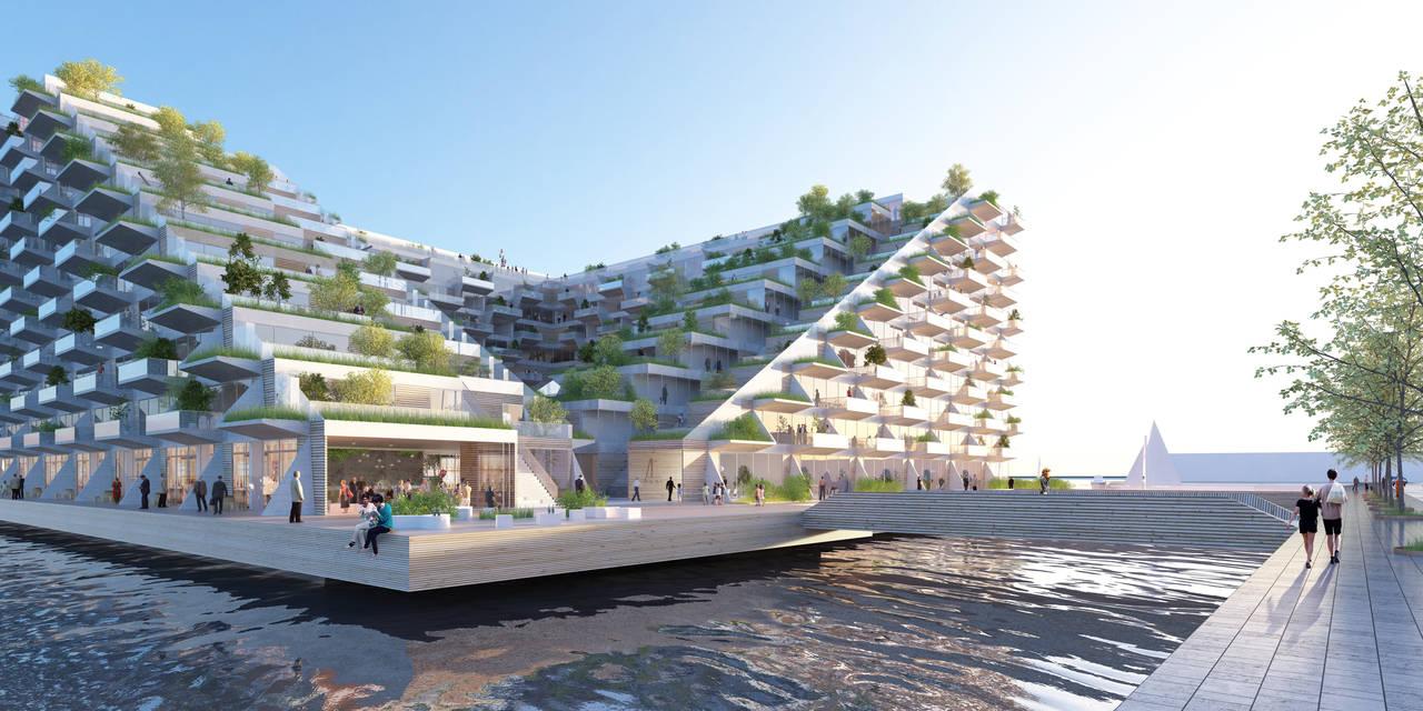 Sluishuis Acceso en Amsterdam por BIG y BARCODE Architects : Render © BIG
