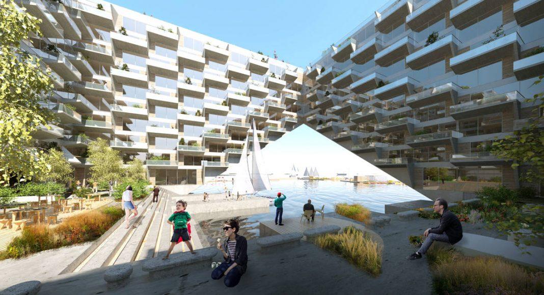 Sluishuis Patio en Amsterdam por BIG y BARCODE Architects : Render © BIG