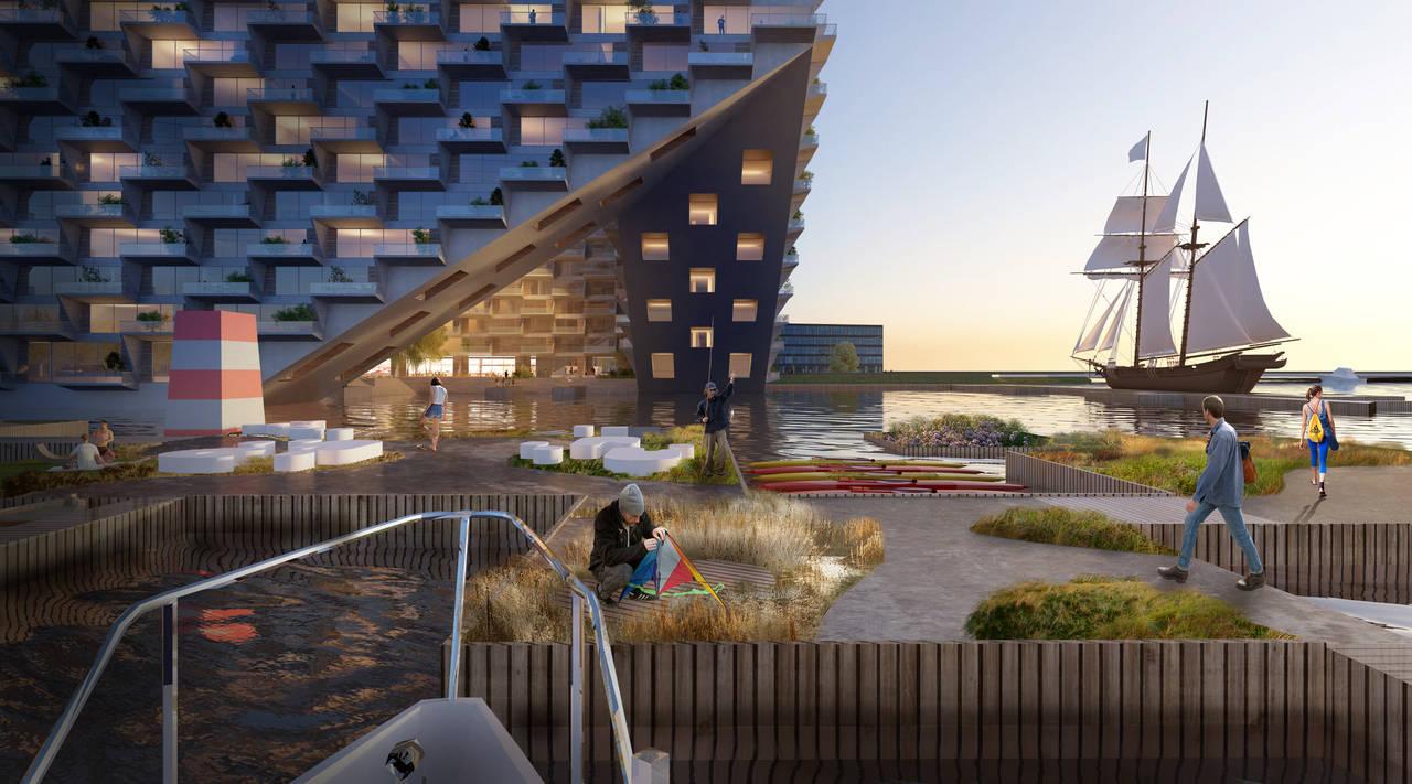 Sluishuis Embarcadero en Amsterdam por BIG y BARCODE Architects : Render © BIG