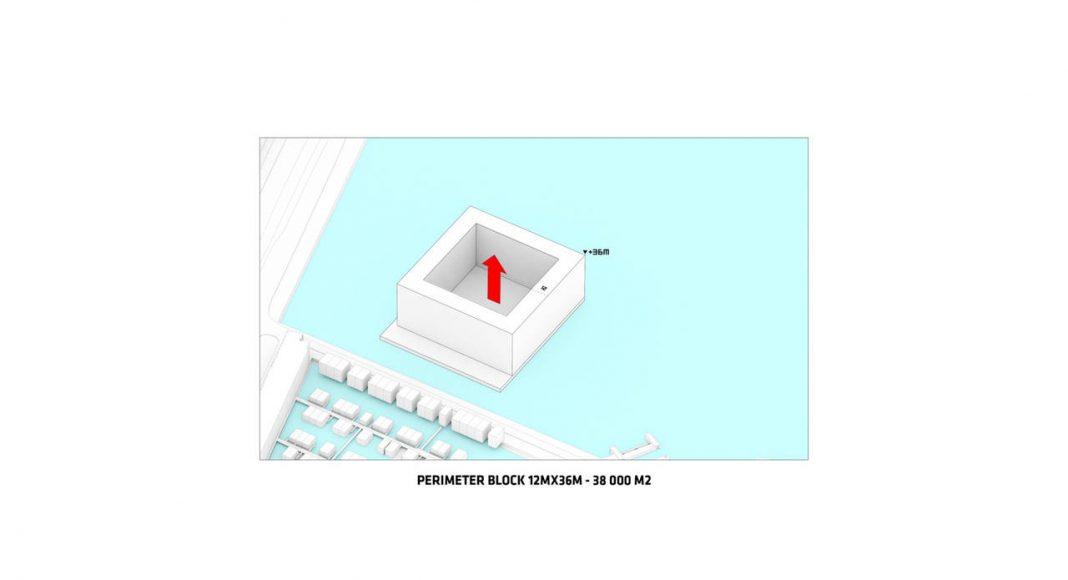 Sluishuis Bloque Perimetral en Amsterdam por BIG y BARCODE Architects : Drawing © BIG
