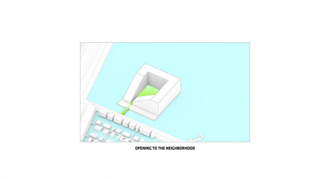 Sluishuis Apertura hacia el Área en Amsterdam por BIG y BARCODE Architects : Drawing © BIG