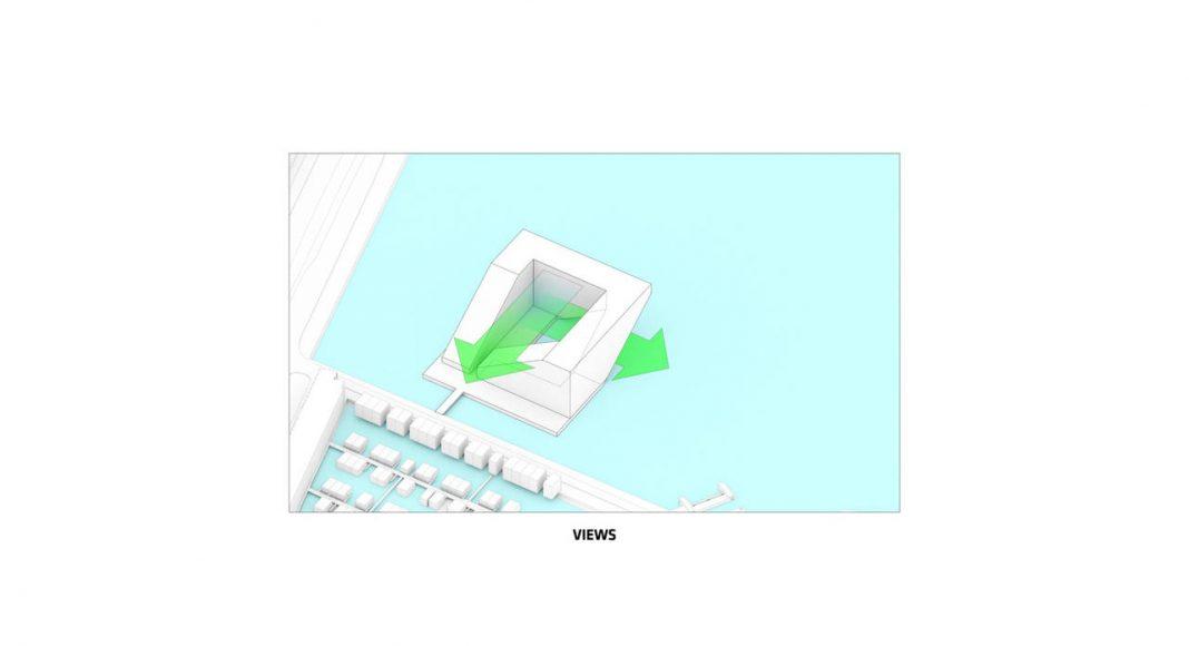 Sluishuis Vistas en Amsterdam por BIG y BARCODE Architects : Drawing © BIG