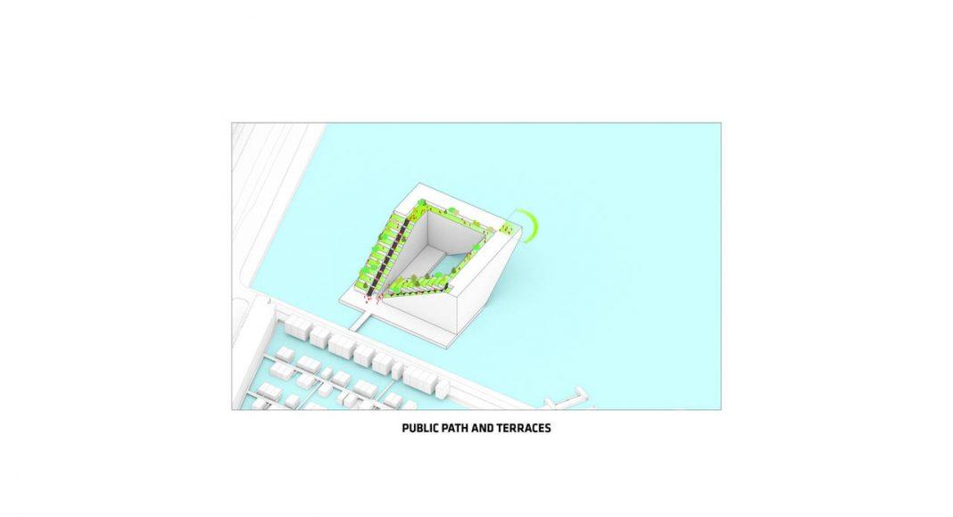 Sluishuis Terrazas y Rutas Públicas en Amsterdam por BIG y BARCODE Architects : Drawing © BIG