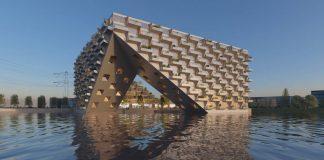 Sluishuis Vista desde el Agua en Amsterdam por BIG y BARCODE Architects : Render © BIG