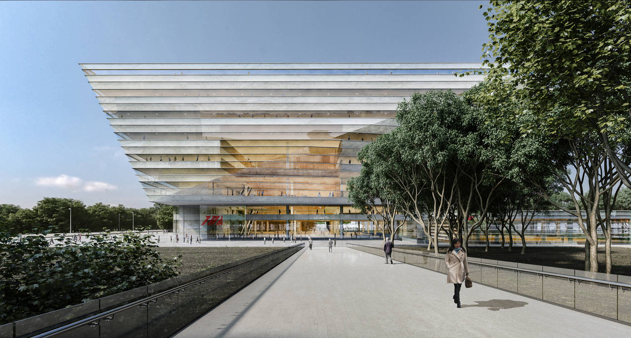 New Shanghai Library Exterior Day in Shanghai, China by Schmidt Hammer Lassen Architects : Render © Schmidt Hammer Lassen Architects