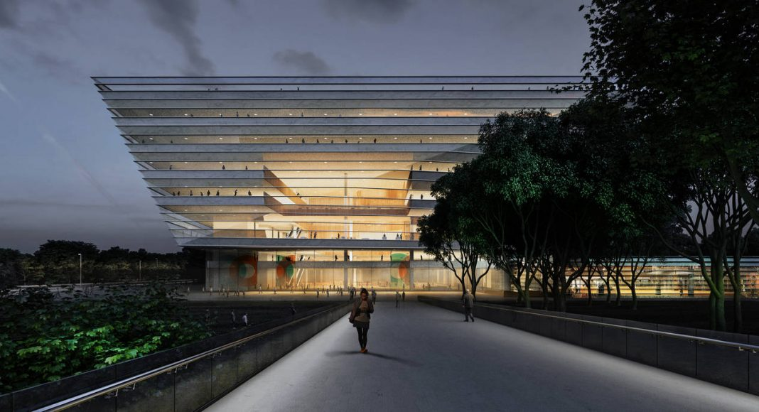 New Shanghai Library Exterior by Night in Shanghai, China by Schmidt Hammer Lassen Architects : Render © Schmidt Hammer Lassen Architects