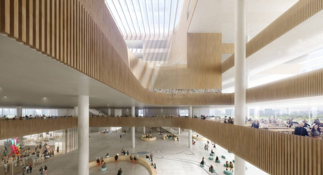 New Shanghai Library Interior in Shanghai, China by Schmidt Hammer Lassen Architects : Render © Doug&Wolf