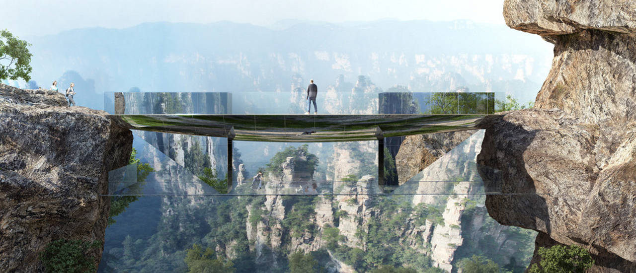 """Set down on the rocks, this step-bridge has two levels to be enjoyed. The upper one connects the two sides, while the lower one is for experiencing a moment """"in the air"""" : Photo credit © Martin Duplantier Architectes"""