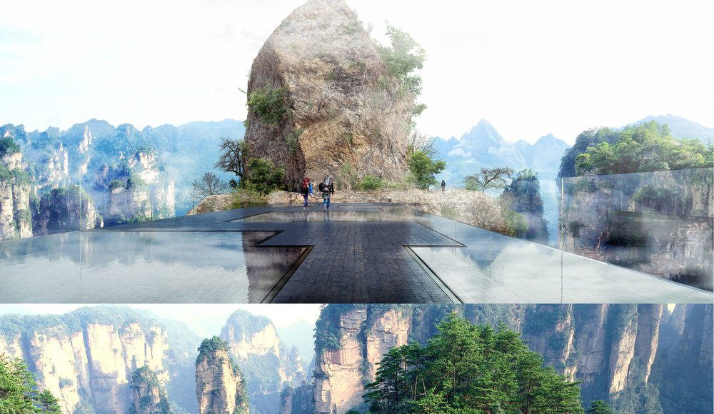 """The """"water mirror"""" is made of 2cm of water on black stone. The irregular set of stones gives a feeling of winding path in the mountains, when one is attracted by the great panorama. Every 7 minutes, the water disappears and reappears through spray nozzles, creating a cloud in the middle of the mountains. This cloud progressively lands on the stones, transformed into a veneer of still water : Photo credit © Martin Duplantier Architectes"""