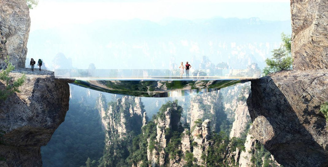 Mirroring the environment, the bridge is an elliptical disk. An off-centered hole leaves open views into the gap between the two rock faces. A strong net allows courageous visitors to lay down in the void : Photo credit © Martin Duplantier Architectes