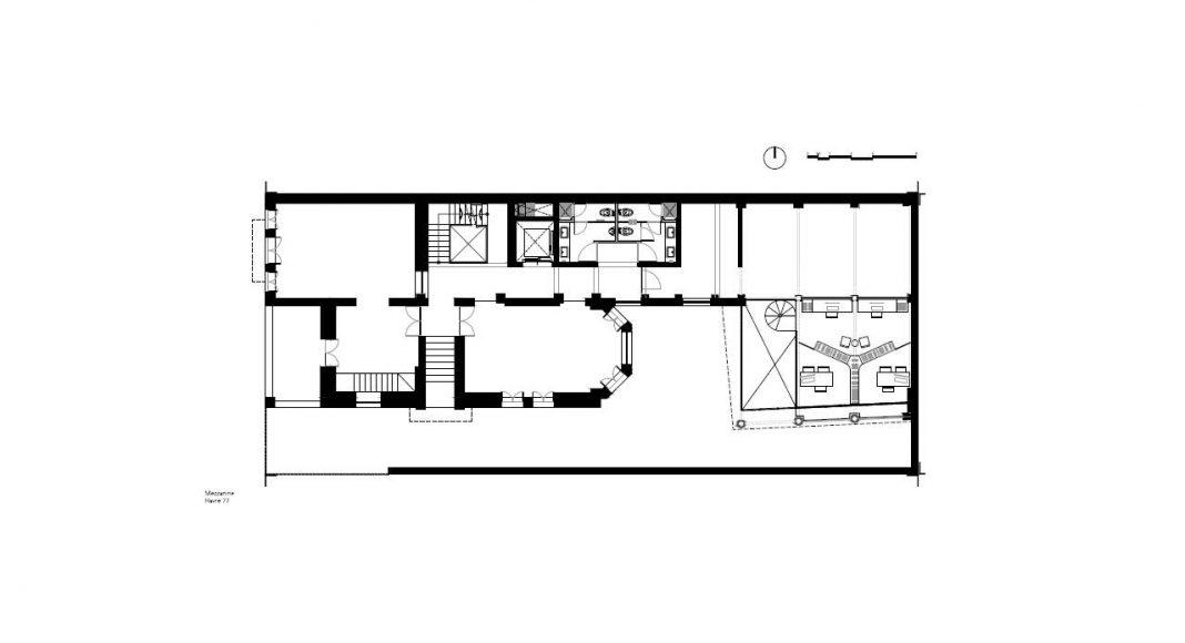 Havre 77 Planta Mezzanine por el estudio Francisco Pardo Arquitecto : Dibujo © Francisco Pardo Arquitecto