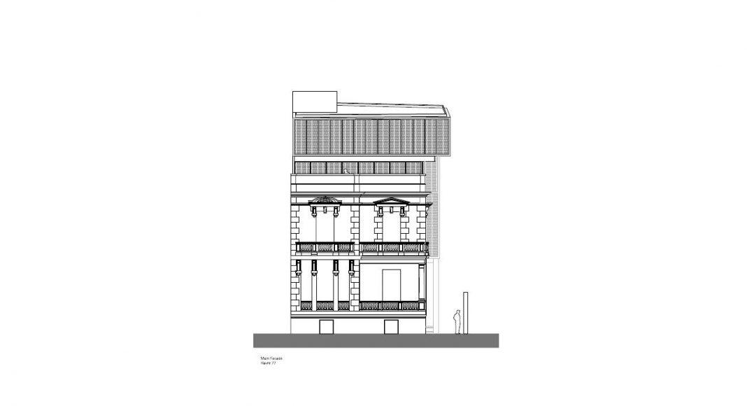 Havre 77 Fachada hacia la Calle por el estudio Francisco Pardo Arquitecto : Dibujo © Francisco Pardo Arquitecto