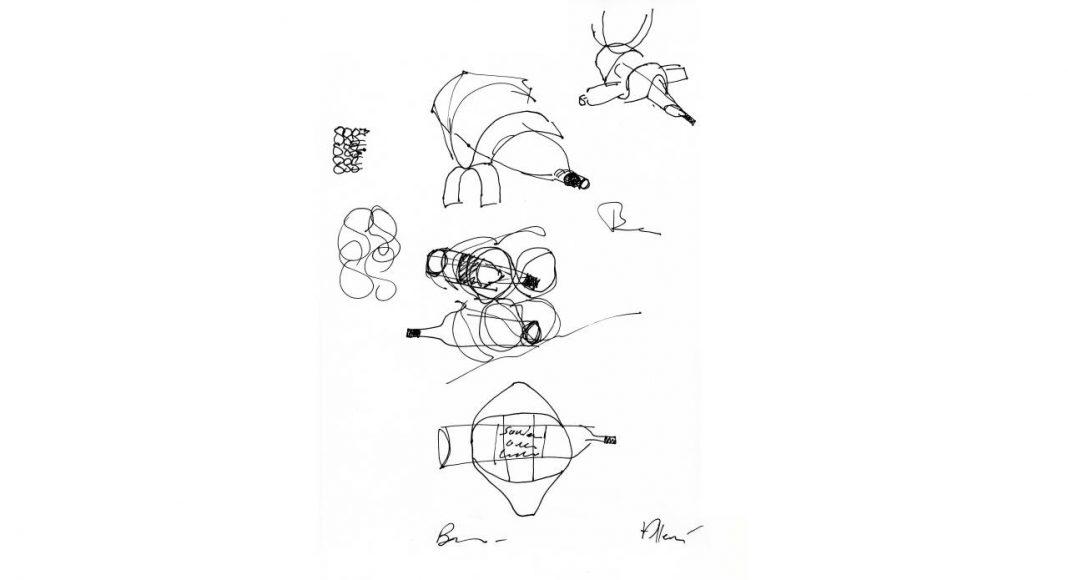 Ribbon Wine Rack, designed by Ben van Berkel / UNStudio for Alessi : Sketch © UNStudio