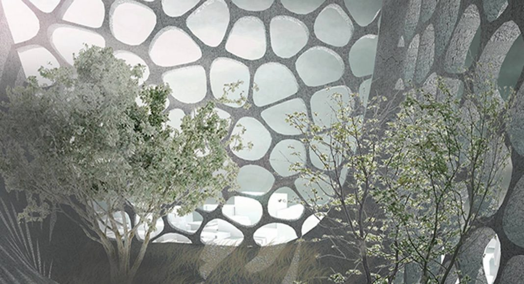 """Laka Competition 2016 Honorable Mention Eight """"The Vertical Tree Burial – Architectural Reaction to Developing World And Constant Beliefs"""" por Huihui Luo, Runjia Tian, Sibo Qin, Yuhan Wu, Ziyi Xu : Render courtesy of © Laka Architektura"""