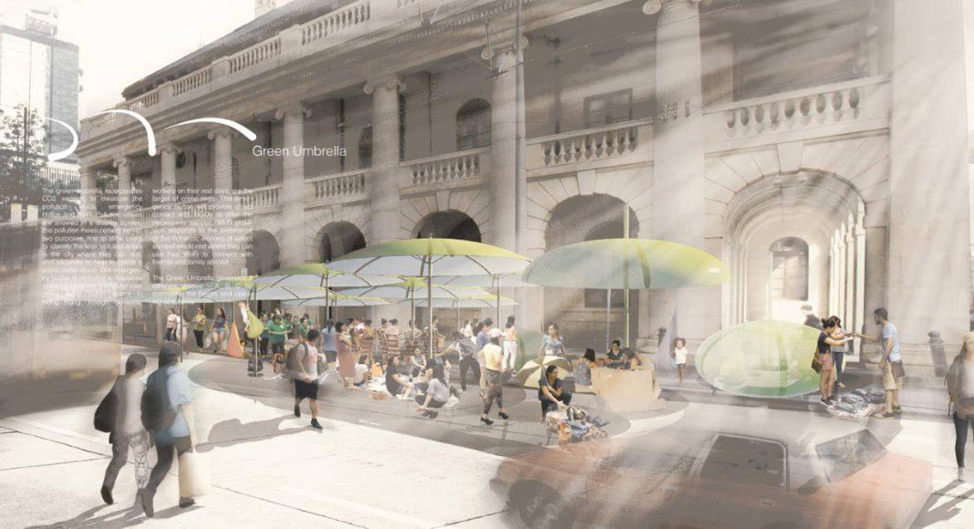 "Laka Competition 2016 Honorable Mention Three ""Green Umbrella"" por Dr. Hee Sun Choi, Jorge Sainz de Aja Curbelo, Tony Chiu Cheuk Lun, and Eason Yeung Kit : Render courtesy of © Laka Architektura"