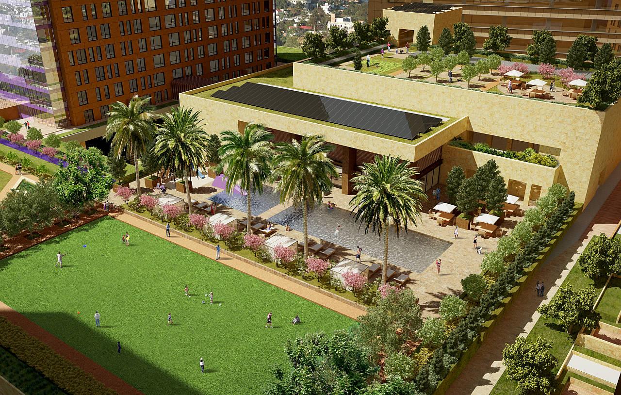 Vista Semiaérea a la alberca del Desarrollo Residencial Miyana : Render © Legorreta + Legorreta (L+L)