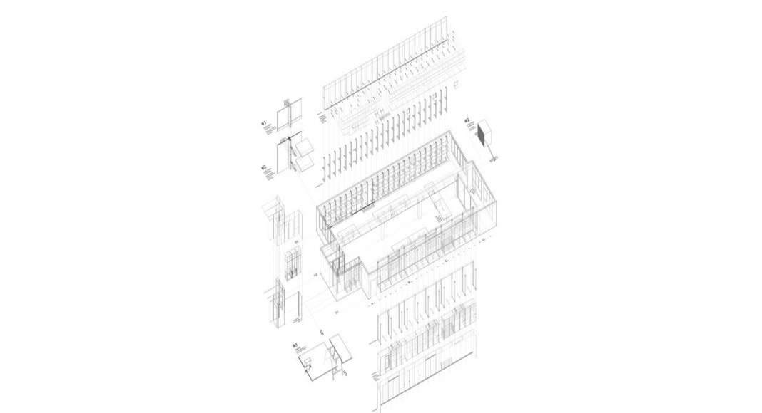 Axonométrico de las Oficinas Centrales de APPAREIL Distrito de Innovación 22@Barcelona : Plano © APPAREIL