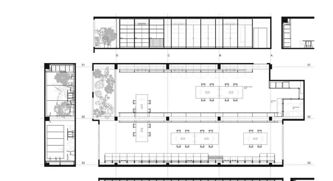 Plantas y Cortes de las Oficinas Centrales de APPAREIL Distrito de Innovación 22@Barcelona : Plano © APPAREIL
