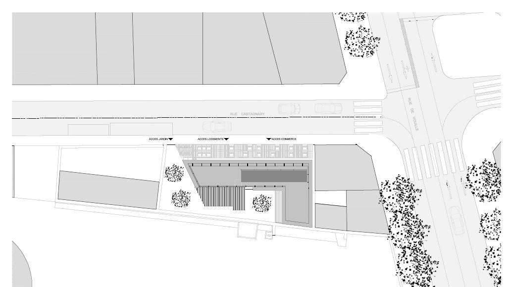 Planta de Conjunto del Desarrollo de 10 Viviendas en Castagnary diseñado por DFA : Drawing © Dietmar Feichtinger Architectes