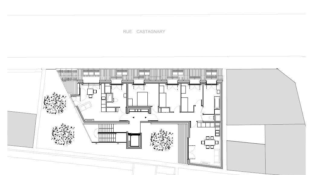 Planta del Quinto Nivel del Desarrollo de 10 Viviendas en Castagnary diseñado por DFA : Drawing © Dietmar Feichtinger Architectes