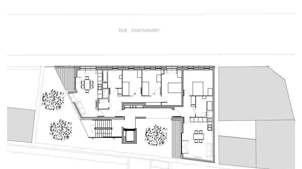 Planta del Primer Nivel del Desarrollo de 10 Viviendas en Castagnary diseñado por DFA : Drawing © Dietmar Feichtinger Architectes