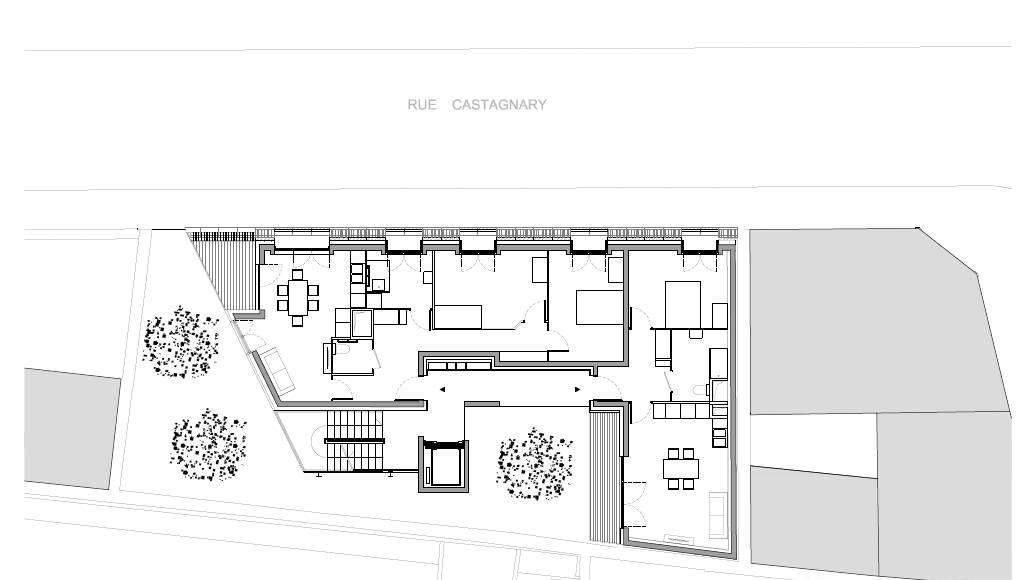 Planta del Cuarto Nivel del Desarrollo de 10 Viviendas en Castagnary diseñado por DFA : Drawing © Dietmar Feichtinger Architectes