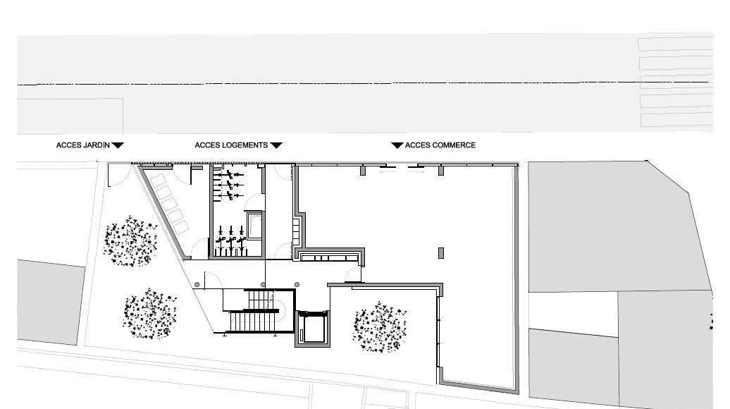 Planta Baja del Desarrollo de 10 Viviendas en Castagnary diseñado por DFA : Drawing © Dietmar Feichtinger Architectes