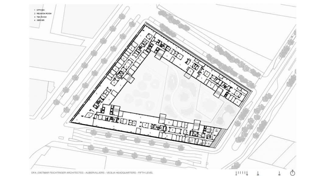 Veolia HQ Fifth Floor designed by DFA   Dietmar Feichtinger Architectes : Drawing © DFA   Dietmar Feichtinger Architectes