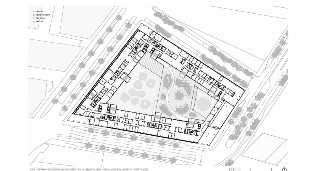 Veolia HQ Firsth Floor designed by DFA | Dietmar Feichtinger Architectes : Drawing © DFA | Dietmar Feichtinger Architectes