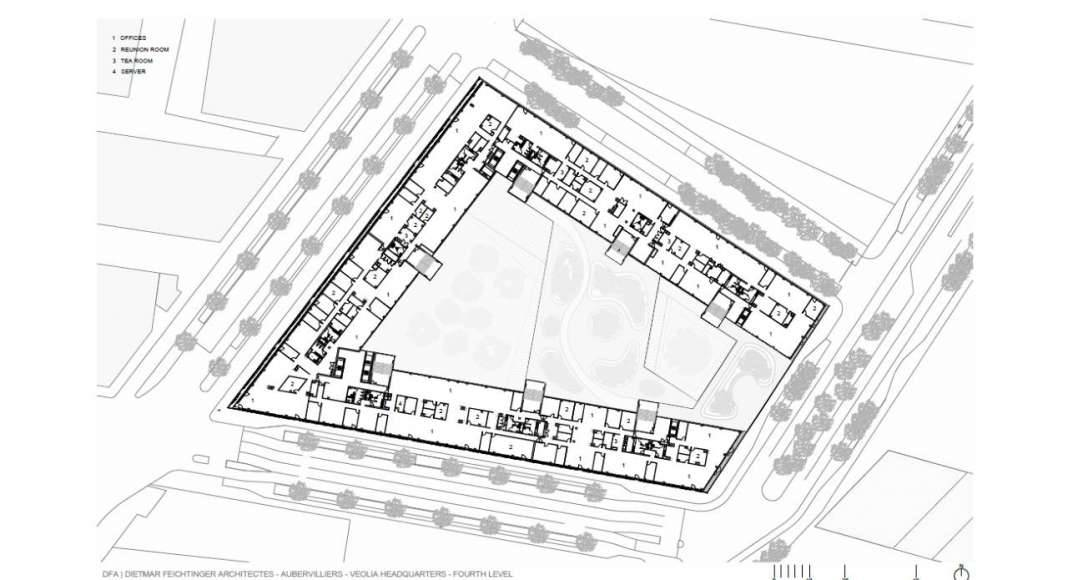 Veolia HQ Fourth Floor designed by DFA | Dietmar Feichtinger Architectes : Drawing © DFA | Dietmar Feichtinger Architectes