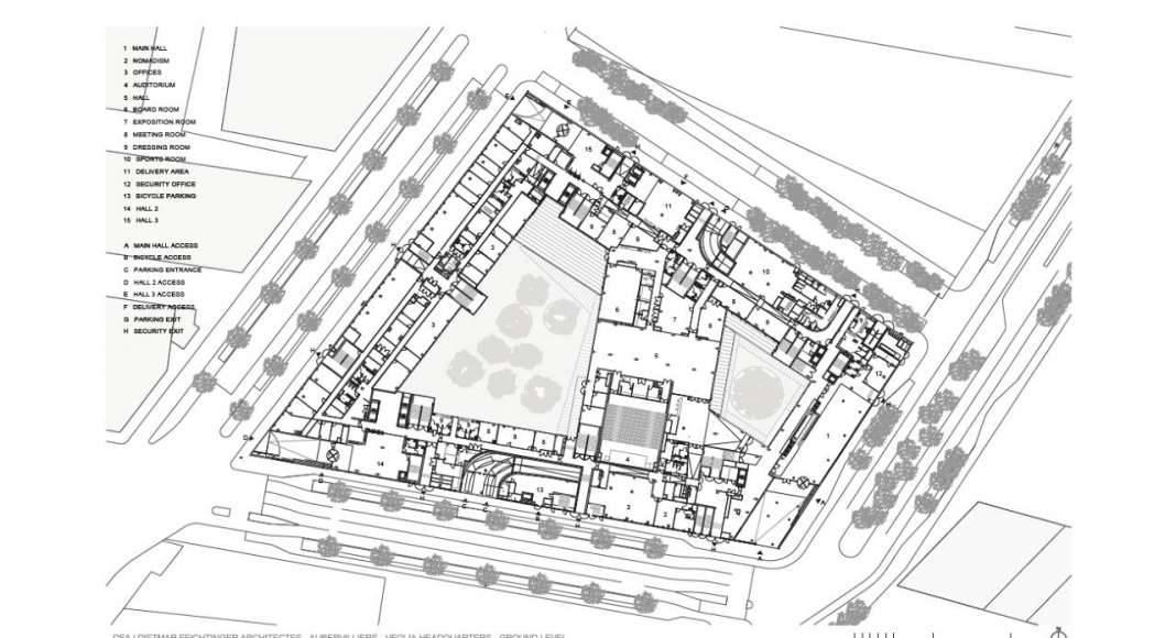 Veolia HQ Ground Floor designed by DFA | Dietmar Feichtinger Architectes : Drawing © DFA | Dietmar Feichtinger Architectes
