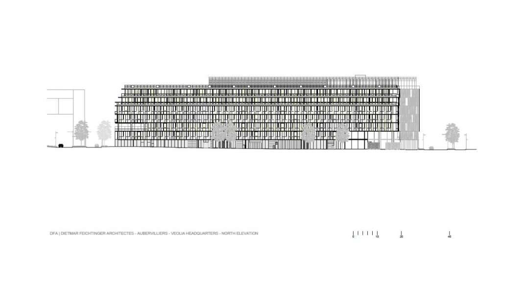 Veolia HQ North Facade designed by DFA | Dietmar Feichtinger Architectes : Drawing © DFA | Dietmar Feichtinger Architectes