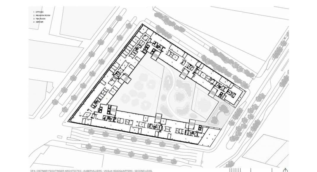 Veolia HQ Second Floor designed by DFA   Dietmar Feichtinger Architectes : Drawing © DFA   Dietmar Feichtinger Architectes