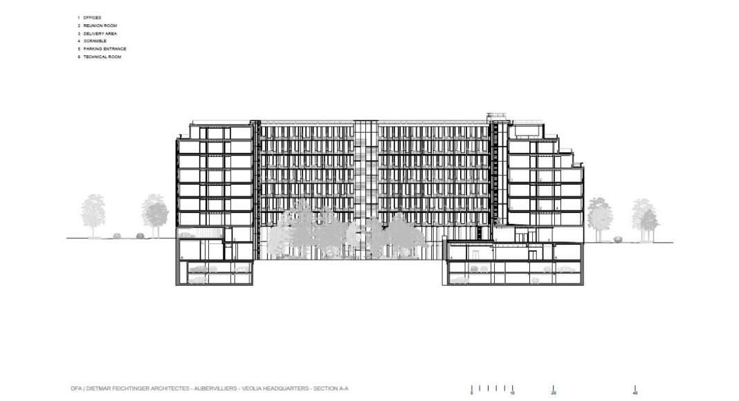 Veolia HQ Section A - A' designed by DFA | Dietmar Feichtinger Architectes : Drawing © DFA | Dietmar Feichtinger Architectes