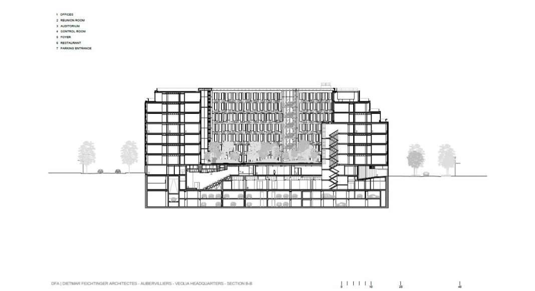 Veolia HQ Section B - B' designed by DFA | Dietmar Feichtinger Architectes : Drawing © DFA | Dietmar Feichtinger Architectes