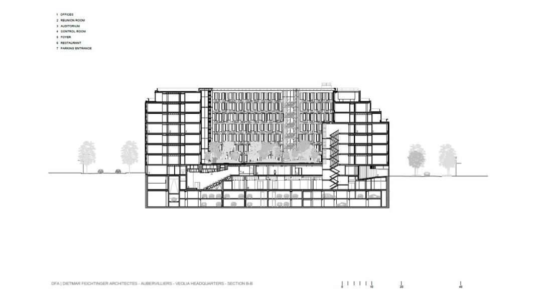 Veolia HQ Section B - B' designed by DFA   Dietmar Feichtinger Architectes : Drawing © DFA   Dietmar Feichtinger Architectes