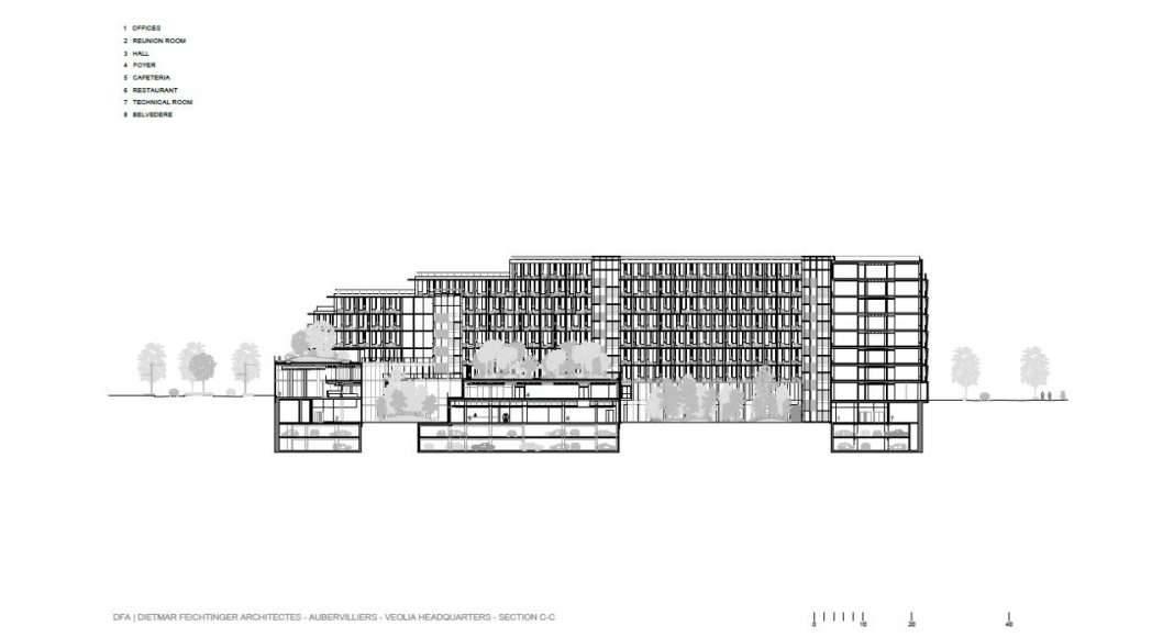 Veolia HQ Section C - C' designed by DFA | Dietmar Feichtinger Architectes : Drawing © DFA | Dietmar Feichtinger Architectes