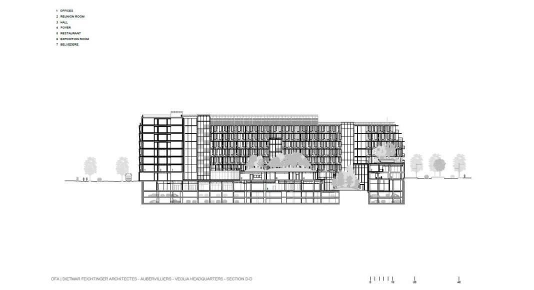 Veolia HQ Section D - D' designed by DFA | Dietmar Feichtinger Architectes : Drawing © DFA | Dietmar Feichtinger Architectes