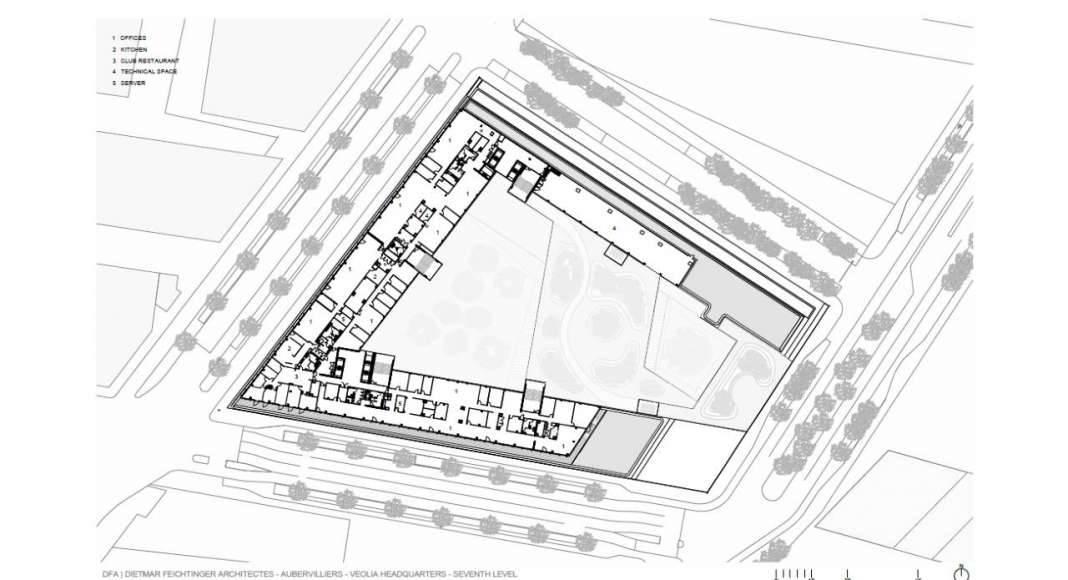Veolia HQ Seventh Floor designed by DFA | Dietmar Feichtinger Architectes : Drawing © DFA | Dietmar Feichtinger Architectes