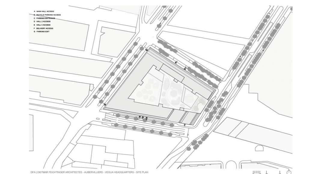 Veolia HQ Site Plan designed by DFA | Dietmar Feichtinger Architectes : Drawing © DFA | Dietmar Feichtinger Architectes