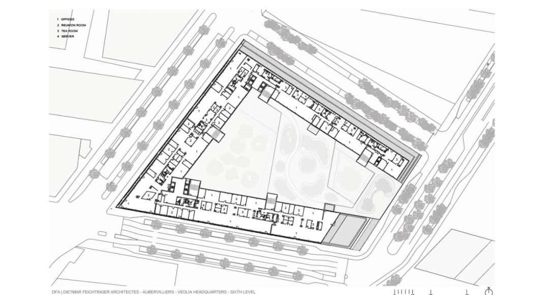 Veolia HQ Sixth Floor designed by DFA   Dietmar Feichtinger Architectes : Drawing © DFA   Dietmar Feichtinger Architectes