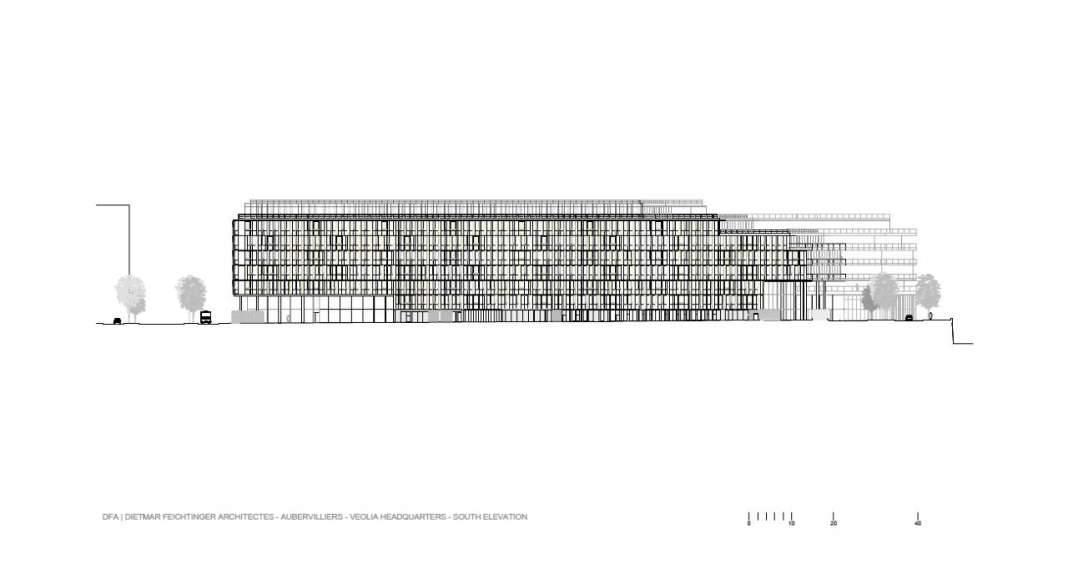 Veolia HQ South Facade designed by DFA | Dietmar Feichtinger Architectes : Drawing © DFA | Dietmar Feichtinger Architectes