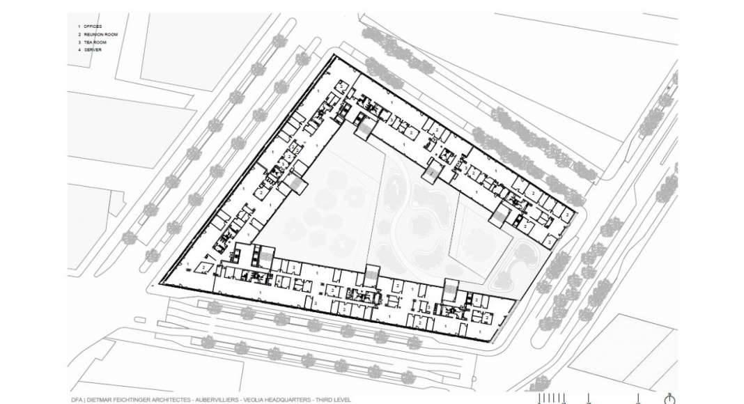 Veolia HQ Third Floor designed by DFA | Dietmar Feichtinger Architectes : Drawing © DFA | Dietmar Feichtinger Architectes