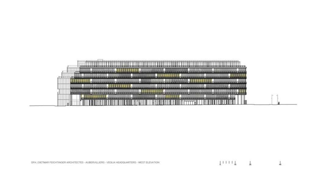 Veolia HQ West Facade designed by DFA | Dietmar Feichtinger Architectes : Drawing © DFA | Dietmar Feichtinger Architectes