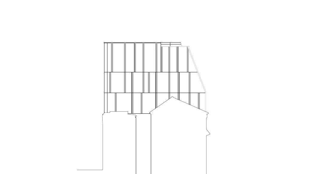 Fachada Noreste 1:100 del Desarrollo de 10 Viviendas en Castagnary diseñado por DFA : Drawing © Dietmar Feichtinger Architectes